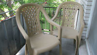 2 sturdy outdoor chairs