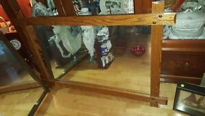 Large vintage mirror in rustic style solid oak wooden frame 49 b