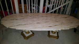 Marble top coffee table and side tables.