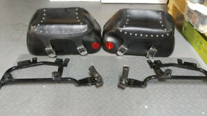 2 Motorcycle Saddle bags and 2 brackets
