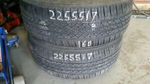 Pair of 2 Bridgestone Potenza RE92A 225/55R17 tires (70% tread l