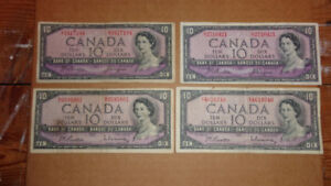 MIXED LOT OF FOUR 1954 CANADIAN TEN DOLLAR BANK OF CANADA NOTES