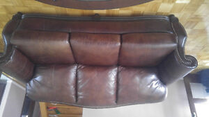 Leather dark brown color couches