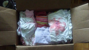 Jumbo diaper box FILLED with baby girl clothes 0-6 months