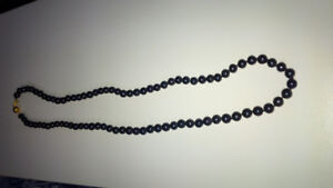 Akoya Saltwater Black Pearl Necklace Genuine From Japan