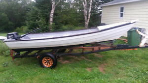 16 ft fibreglass boat.15 hp motor and yard trailer
