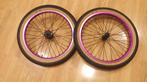 Purple bmx wheels with tires