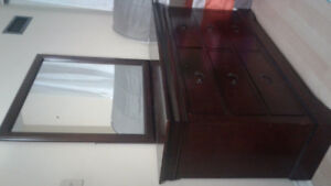 Queen size complete bed with beautiful dresser for sale