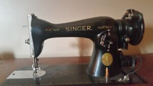 1936 Antique Singer Sewing Machine, Table & Stool