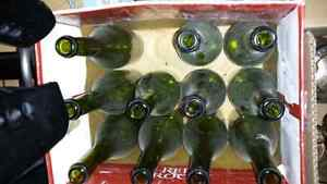 Box of old wine bottles