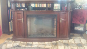 Rich Dark Cherry Entertainment Centre and Fireplace