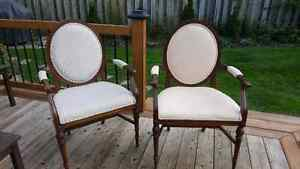 Pair solid wood armchairs