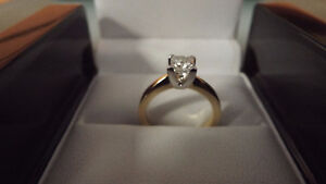 14K Ladies Yellow Gold VVS-1 0.70 Princess Cut Diamond Ring