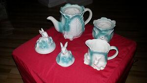 5pcs Easter Bunny Rabbit / Cabbage Tea Set