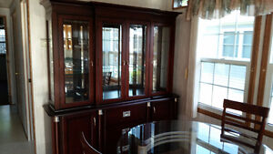Glass top dining table, 4 chairs + china cabinet / display case Sarnia Sarnia Area image 3
