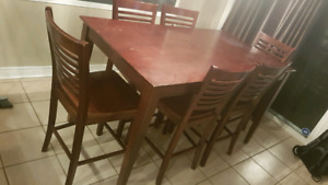 Pub height table with 6 chairs