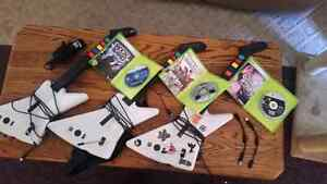 Xbox 360 guitar collection with 3 games and mic