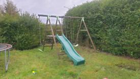 Wooden Garden Swing and slide set