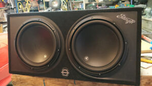 """2: 12"""" JL W3's in sealed box and 1: JL 600/1 amp"""