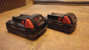 Two Milwaukee batteries thin model