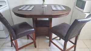 Bar Height Dining Table and 2 leather chair