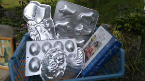 Kitchen pots and pans, trivets,xmas tumblers,cake molds,clock