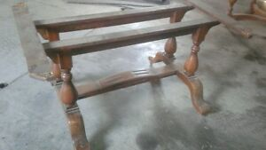 old table on metal casters