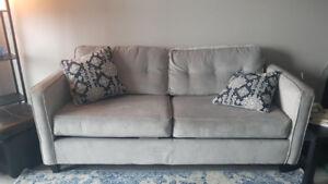 6 mth old Grey Dengler couch/ Ikea Armoire-dark wood