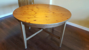 IKEA solid pine extendable dining table