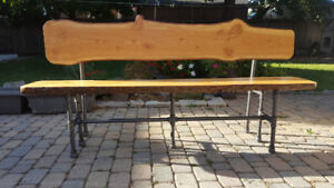 Live Edge and Gas Pipe Bench