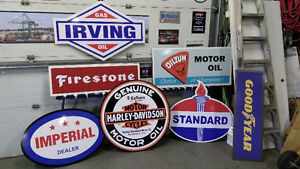 LARGE AUTO TRUCK TRACTOR AND GASOLINE SIGNS