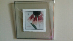 Summer Daisy Photo/Watercolor Suspended in Glass Frame