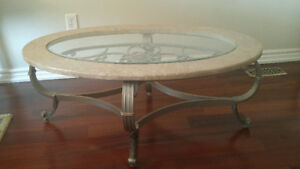 Gorgeous Designer Coffee Table w Marble & Glass- Like New