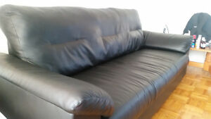 High Back IKEA Leather Sofa in Excellent Condition