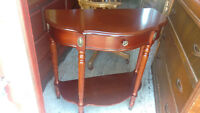 Cherry Half Moon Accent Table With Drawer