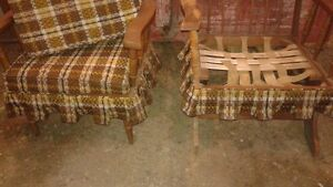 2 Retro Wooden Chairs with Cushions : 1 Rocker & 1 with Legs SET London Ontario image 5