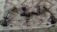 Bowtech 50lbs bow, with bow bag + arrows
