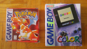 Game boy colour and pokemon red in box