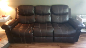 Leather/Fabric Mix Reclining Couch and Chair