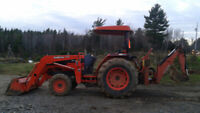 Tractor and backhoe/tiller/forks for hire withorwithout operator