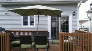 Outdoor Patio Table and Chairs with Cushions and Umbrella