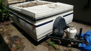 Scrap RV Tent Trailer - Good Chassis, New Tires