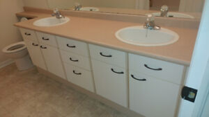 Large Bathroom Vanity with counter top and 2 sinks
