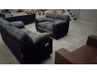 Brand new black fabric and grey jumbo chord 3 + 2 seater sofa suite