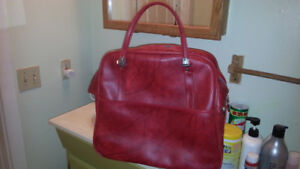 """Vintage American Tourister faux learher bag 16""""/16""""/8/ RED"""
