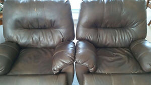Brown Leather Wall-Hugging Power Recliners London Ontario image 2