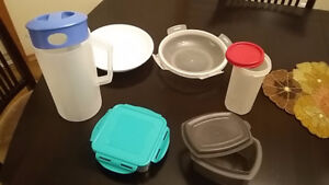 Rubbermaid / other food storage boxes, jug and plate