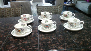 6 Portermerion cups and saucers for sale.
