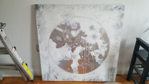 Modern Canvas Painting Silver