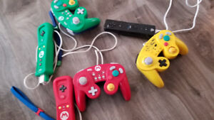 wii u plus 5 controllers and 6games